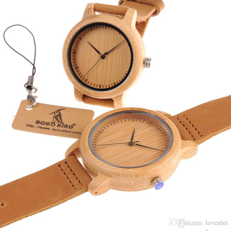 Bobo Ptak Kobiety Mężczyźni Zegarki Bambusowe Drewniane zegarek Prawdziwy Skórzany Zegarek Kwarcowy Zegarek Jak Prezent Dla Mężczyzn Panie Akceptuj OEM