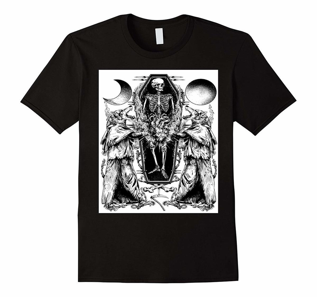 3fd8c422947 Skeleton And Wolf Halloween T Shirt Top Tee For Sale Natural Cotton Tee  Shirts T Shirt Men Short Sleeve Funny Plus Size Awesome Tshirt Designs 10 T  Shirts ...