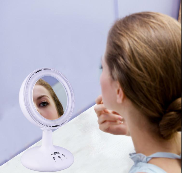 LED ION FAN MIRROR p Light 3 Step Fan Negative-IONS Plane Cosmetic Mirror Is To Assist Other Grooming Tools