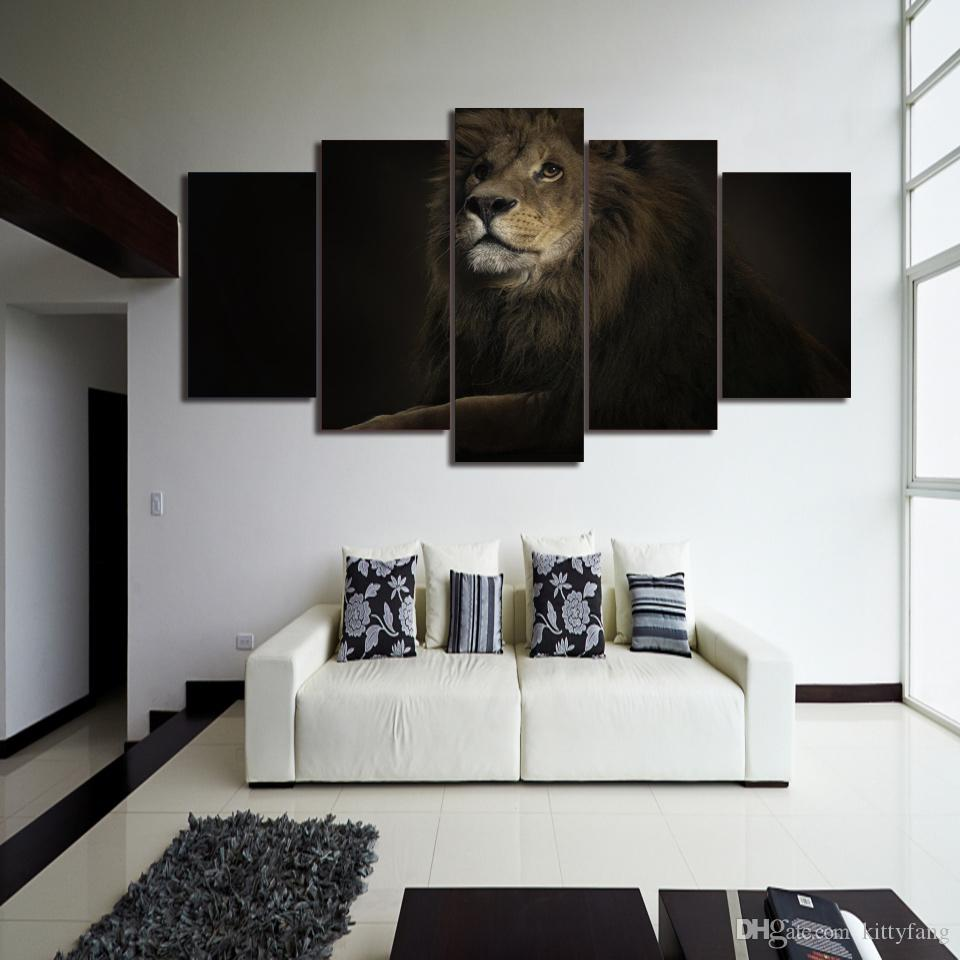 Framed HD Printed lion king animal Still Life Canvas Painting Wall Art Picture Home Decor For Linving Room