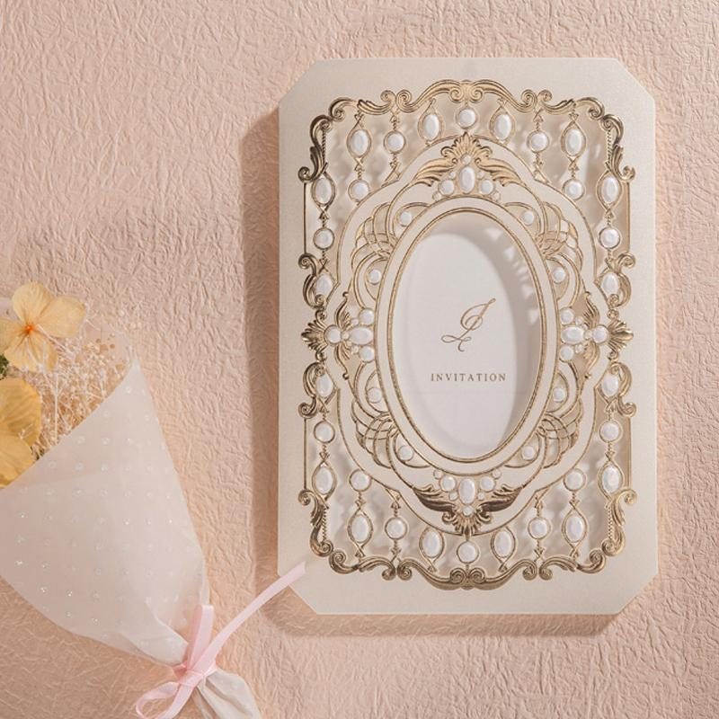Luxury Laser Cut Wedding Invitations Cards With Gold Flora Design