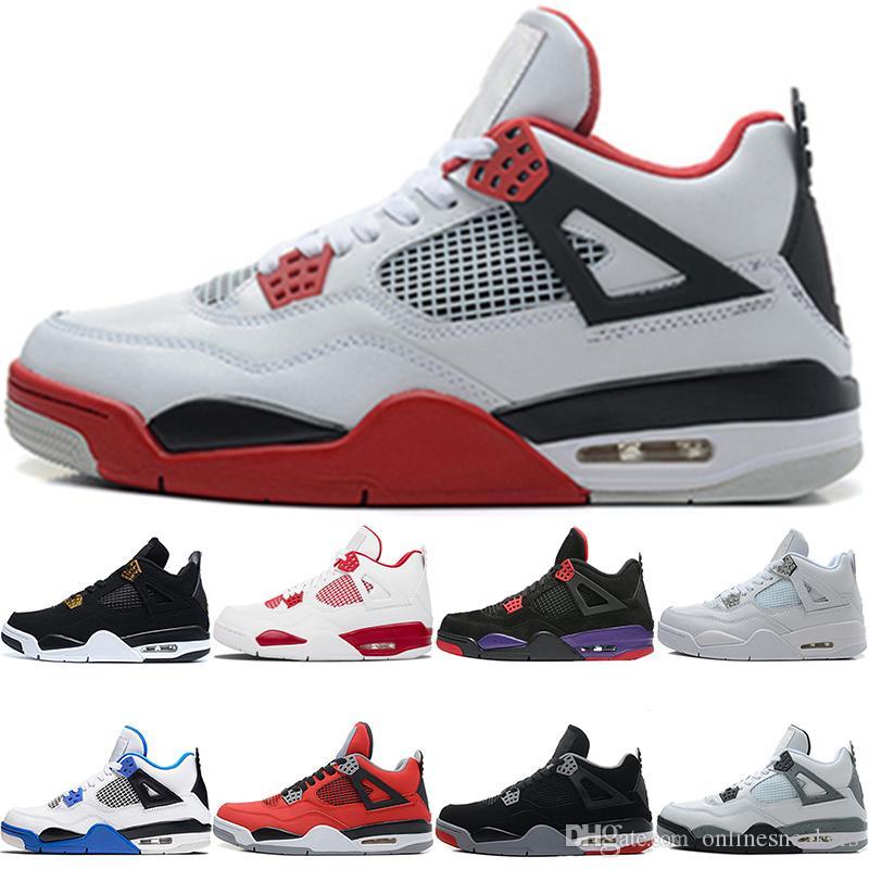 21ea3a172a3 Nike Air Jordan Retro Zapatillas De Baloncesto 4 4s Hombres Raptors Dinero  Puro Bred Royalty Cemento Blanco Negro Toro Bravo Hombres Top Sport Sneaker  ...
