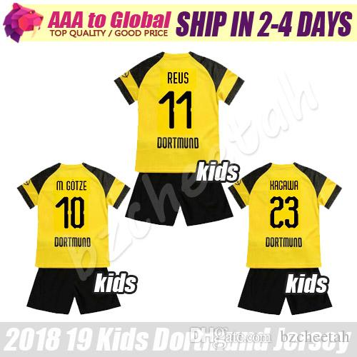 brand new 4516d 86d6f Kids reus Soccer jersey sets 2019 BVB Children Gotze Pulisic Kagawa  Piszczek young Football jersey kits Borussia shirts kit