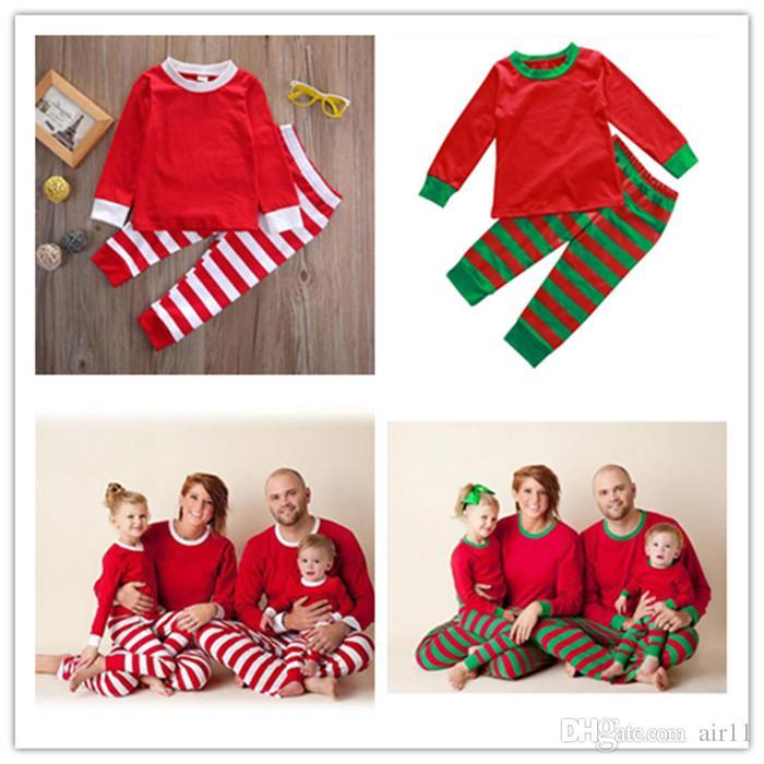 2c67138b4d 2019 DHL Newest Xmas Kids Matching Christmas Deer Striped Pajamas Sleepwear  Nightwear Pyjamas Bedgown Sleepcoat Nighty From Air11
