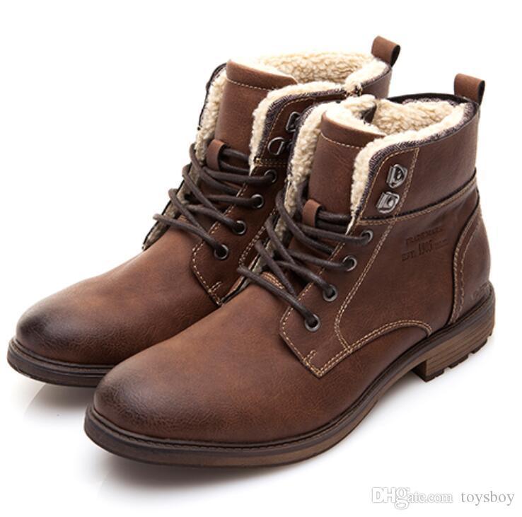 ac7b7d630f6 Compre Marca Hombres Zapatos Otoño Invierno Hombres Botas Moda Estilo  Vintage Hombres Zapatos De Moto Zapatos De Corte Alto Hombres Zapatos  Casuales A ...