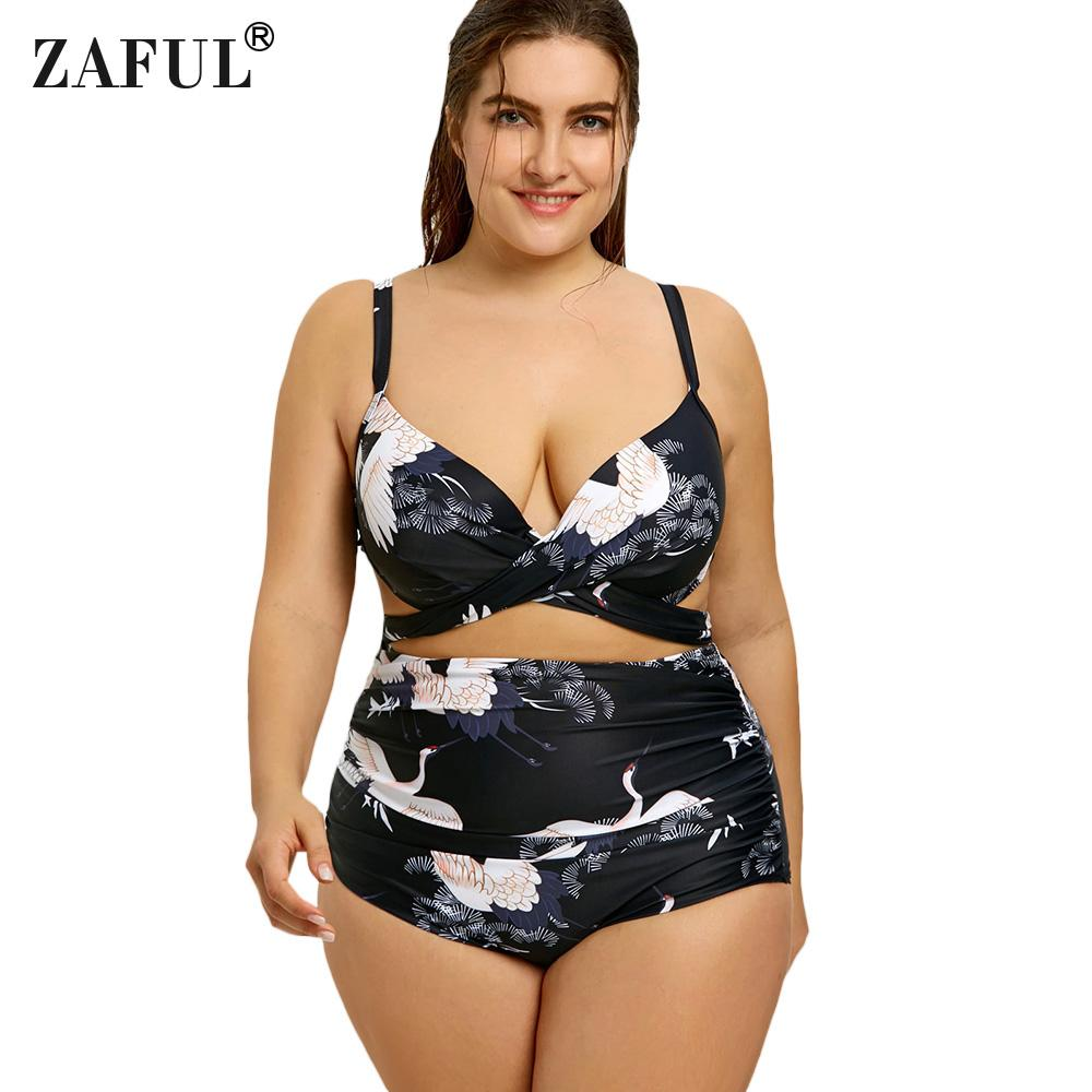 3d5695c731c5e 2019 Wholesale Bikini Set Print Super Big Size Bikinis Plus Size Sexy Fat  Womens Bikini High Waist Wrap Beachwears Swimsuits Swimwears From  Qingyun1996