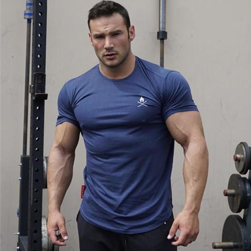 Acheter Course À Pied T Shirt Hommes Coton Marque Gym Fitness Bodybuilding Slim  Fit Sweat Hommes Joggers À Manches Courtes Mâle Tee Sport Top De  23.06 Du  ... 6cb63896e87