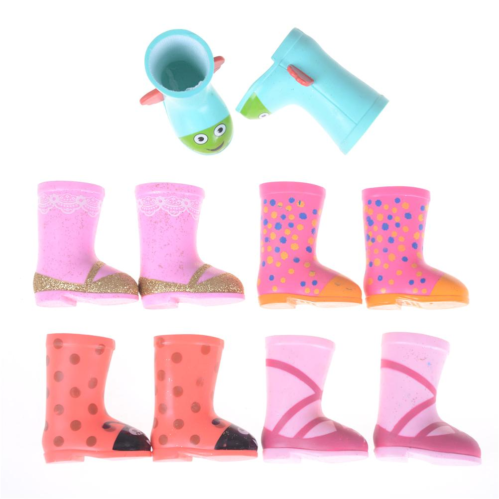 Cartoon Hand Paint Raining Boots Fashion Doll Shoes fit for American doll shoesLover Girls Kids Gift