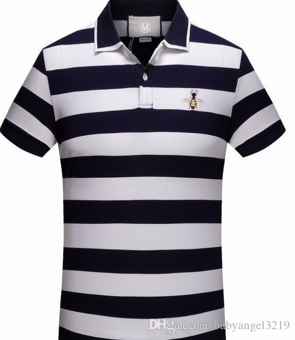 ce1083c0b0b 2018 Italy Designer Polo Shirt T Shirts Luxury Brand Snake Bee Floral  Embroidery Mens Polos High Street Fashion Stripe Print Polo T Shirt Best T  Shirt Sites ...