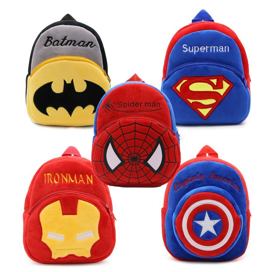 f0743d433463 2019 1 3 Years Baby Plush Backpack Cute Cartoon Superhero Spider Man Plush  Bag Soft Toy Children S School Bag From Paradise02