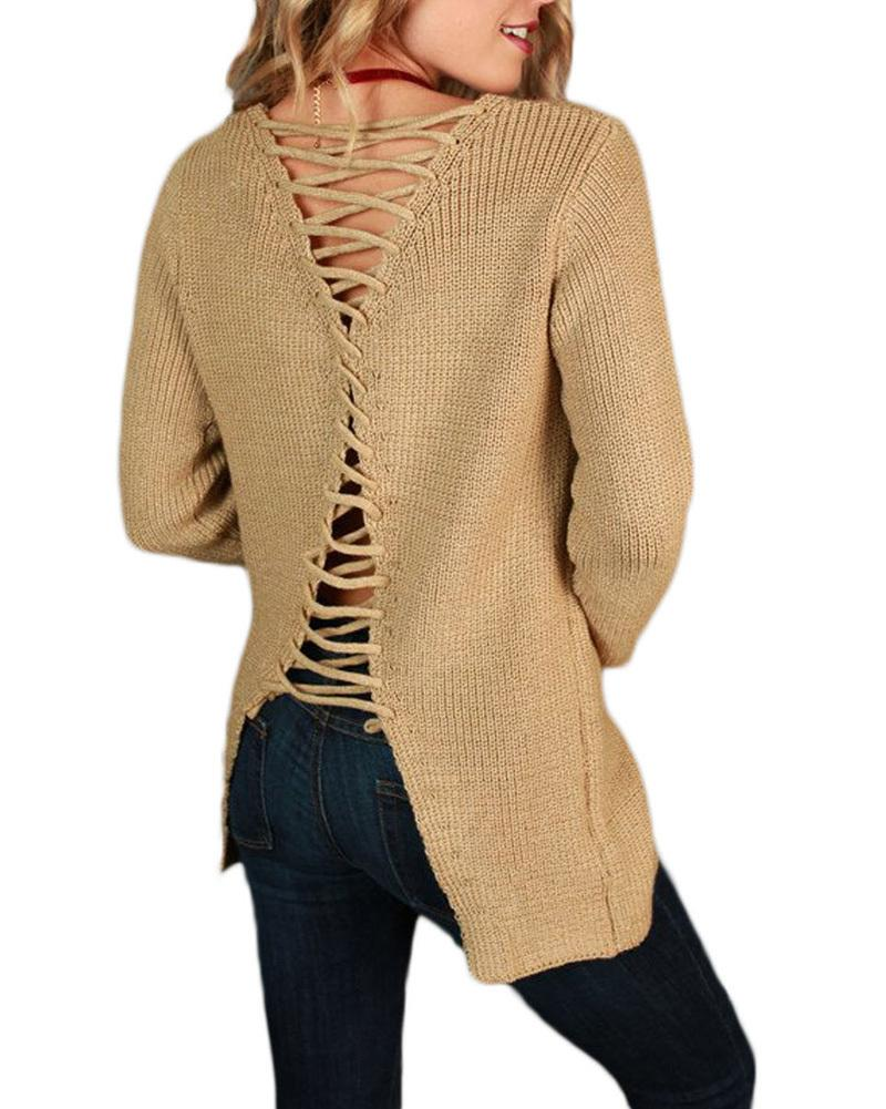 2019 2017 Sexy Women Loose Knit Sweater Solid Lace Up Back Bandage V Neck  Pullover Tops Long Sleeve Hollow Out Sweater Casual Jumper From  Bestshirt007 d443076ee