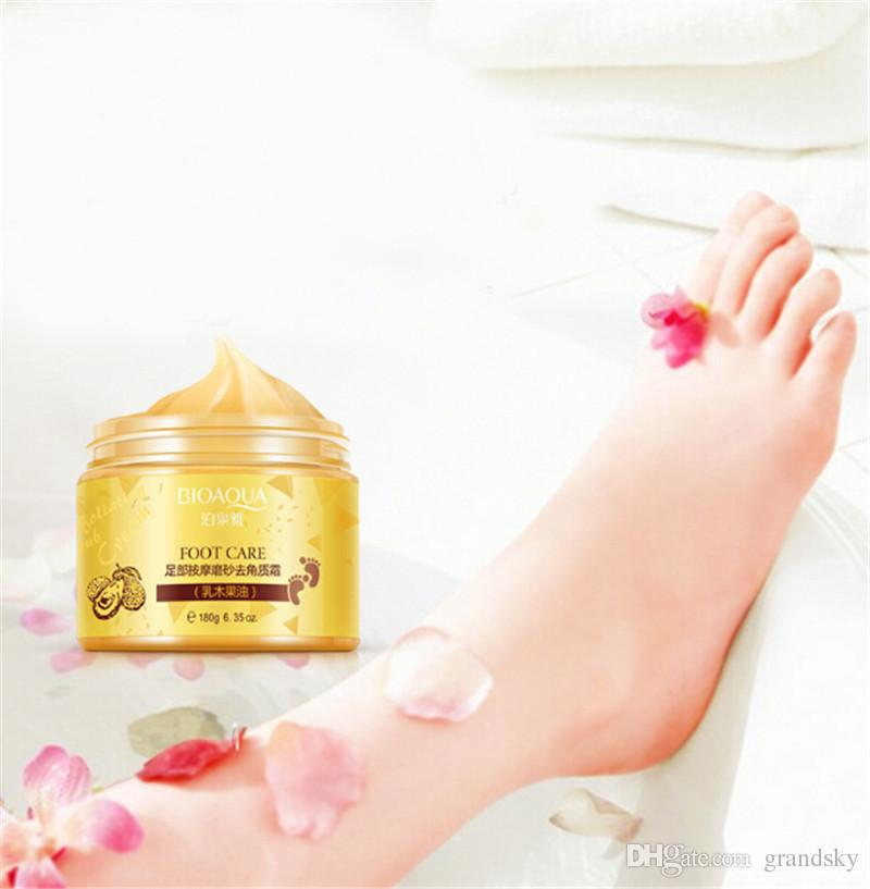 Hot Sale BIOAQUA 24K GOLD Shea Buttermassage Cream Peeling Renewal Mask Baby Foot Skin Smooth Care Cream Exfoliating Foot Mask