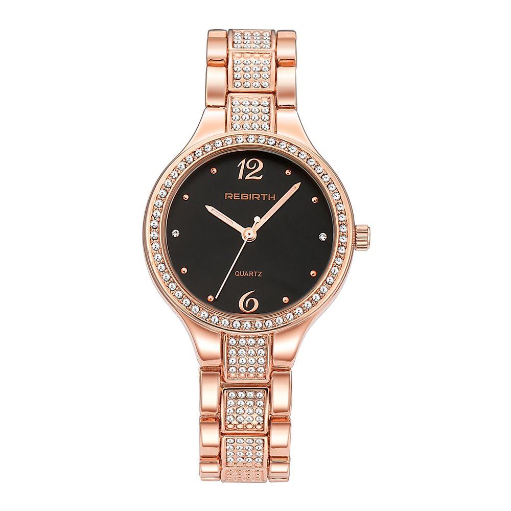 meilleur grossiste d4a56 7ccbf Montre Femme New Women's Watch Luxury Quartz Bracelet Watch Stainless Steel  Waterproof Clock Crystal Band Brand REBIRTH
