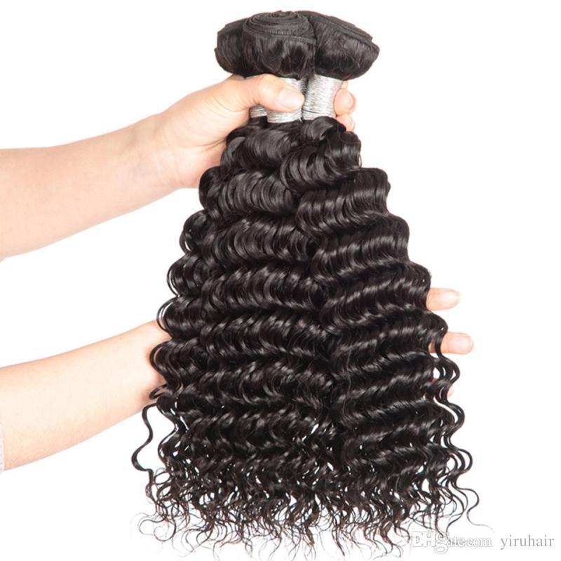 Capelli umani indiani con peli di capelli ricci onda profonda con 4X4 chiusura in pizzo 4 pacchi con chiusura in pizzo trame di capelli bambini 5 pezzi / lottp