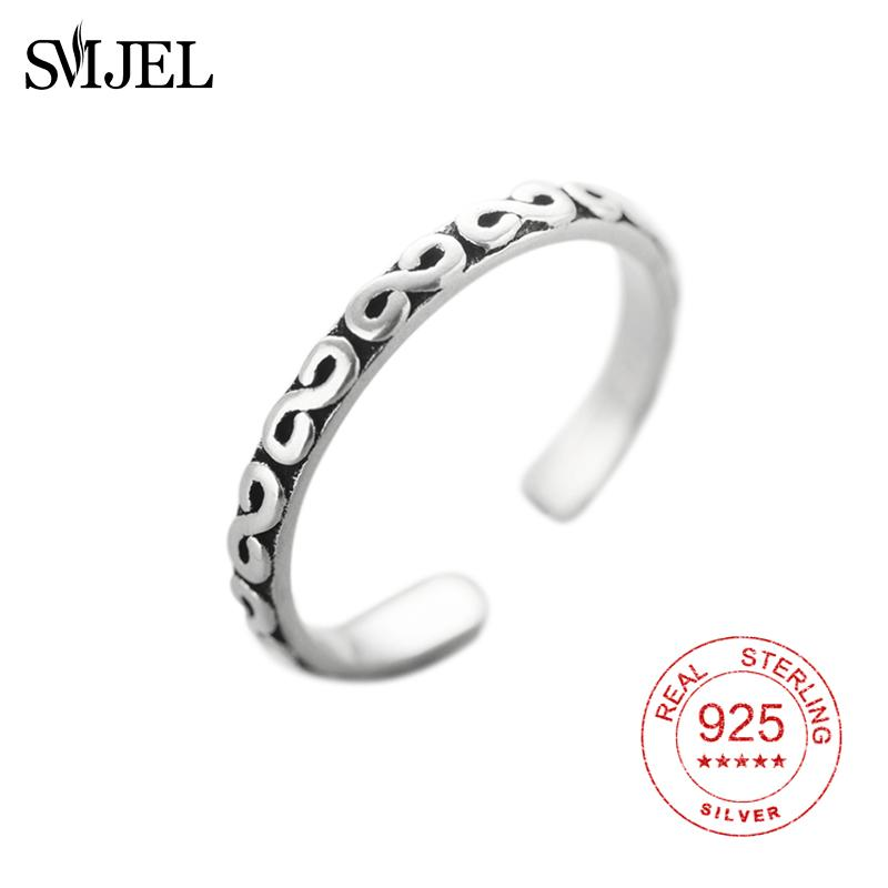 SMJEL Retro Style 100% 925 Sterling Silver S Letter Open Rings For Women  Vintage Jewelry Accessories Religious Ring Gifts Men UK 2019 From Strips 1b113d605