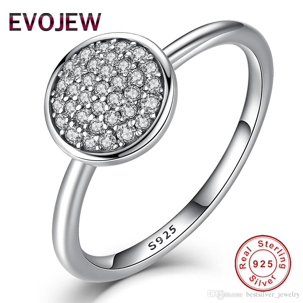 EVOJEW 3 Size 925 Sterling Silver Round Shape Radiant Elegance Jewelry Inlaid Clear Cubic Zircon Finger Rings For Women Engagement