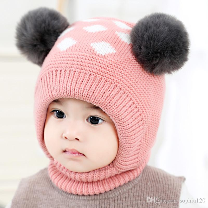 e2ec1663c94 2019 Baby Winter Cap Kids  Autumn Dot Neck Warmer Fashion Cute Cap Newborn  Photography Prop For Infant Boys And Girls Kids Hat Baby Hat From  Sophia120