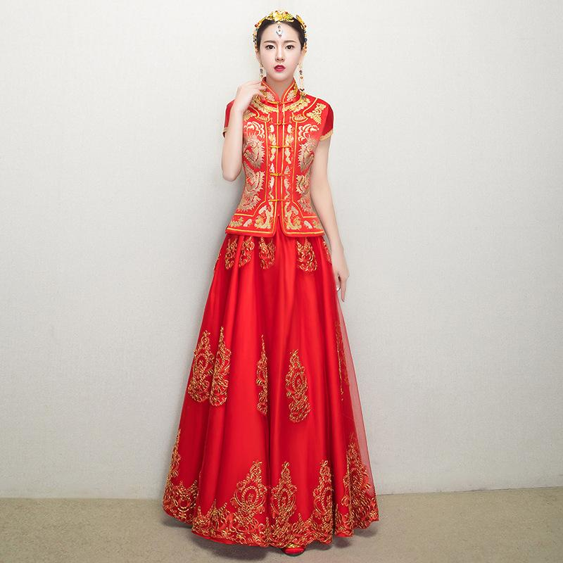 d01b22d35 2019 Traditional Chinese Gown Bride Wedding Dress 2017 New Phoenix Woman  Vintage Qipao Dresses Robes Oriental Wholesale From Qualityclothes, ...