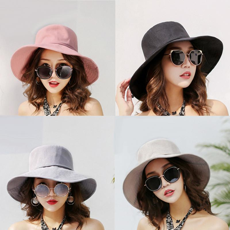 9cbb09208ef Wide Brim Hats Lady Summer Hats Sun Hats for Girl Cotton Material ...