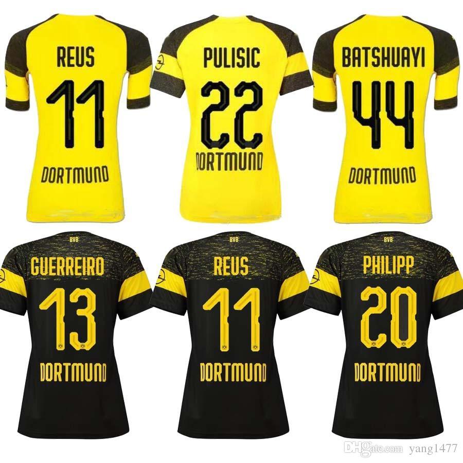 51368d837 Satın Al Yeni 2018 2019 Reus Kadın Futbol Forması 18 19 Gotze Kagawa  Pulisic Reus Borussia Ev Futbol Kadın Gömlek S Xl