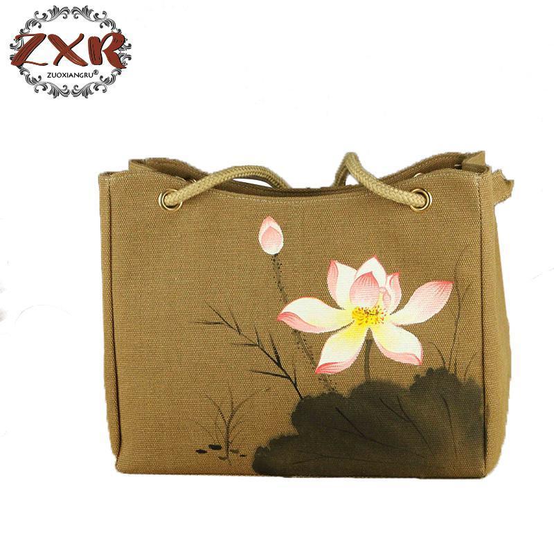Chinese Painting Series Women Tote Bag Flower Hand Painted Rope Top Handle  Ladies Shoppers Shopping Handbag Khaki Reusable Shopping Bags Rosetti  Handbags ...