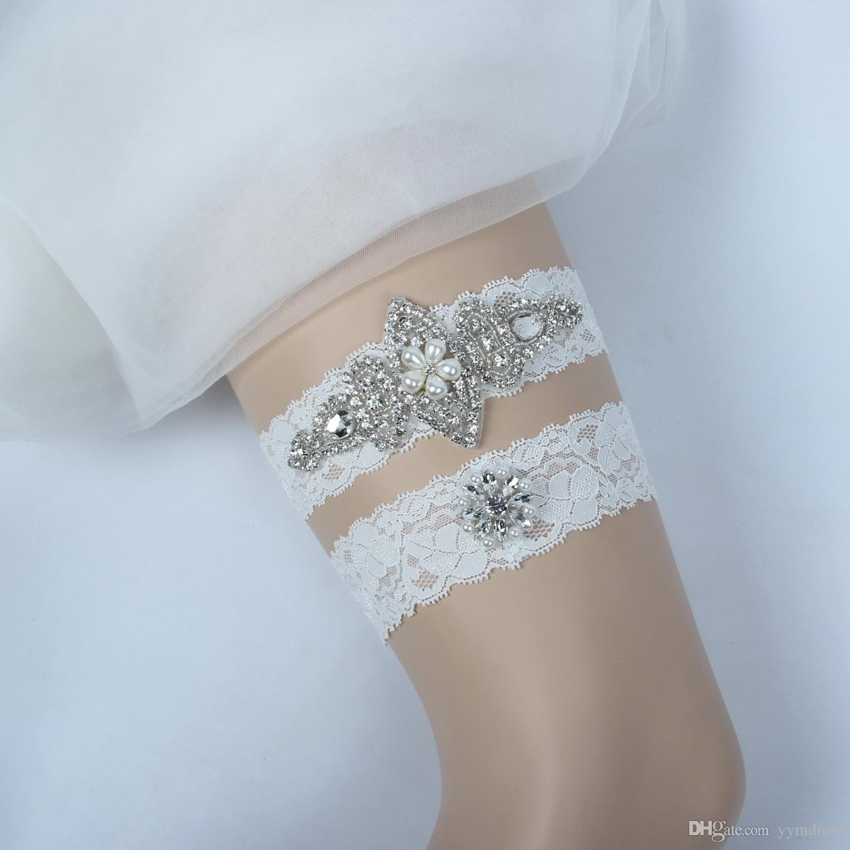 d761c268f Bridal Leg Garters Prom Garter Bridal Wedding Garter Belt Set Lace  Rhinestones Crystals Pearls In Stock Plus Size Personalized Garter  Personalized Wedding ...