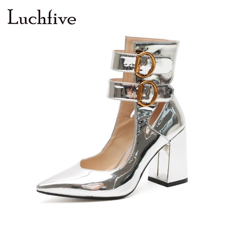 e1ce84fc2a2066 New Pointed Toe Women Pumps Silver Ankle Buckle Strap Shallow Female Shoes  Fashion Chunky High Heels Summer Zapatos Mujer Casual Shoes Women Shoes  From ...