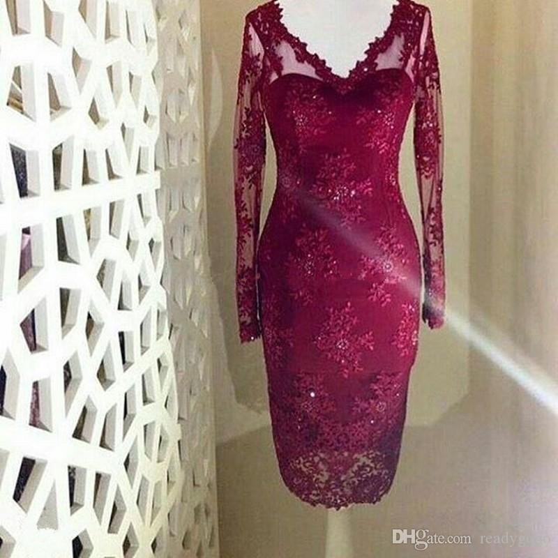 Burgundy Red Lace Mother Of The Bride Dresses V Neck Long Sleeves Sheath Tea Length Dark Red Mother Of The Groom Dresses