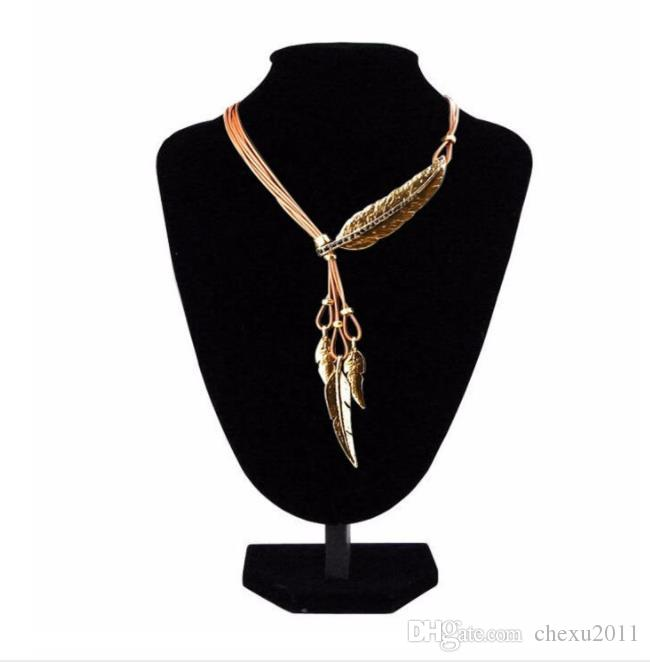 Leaf Necklace, Feather Necklace, pendant jewelry, leather rope Leaf Pendant