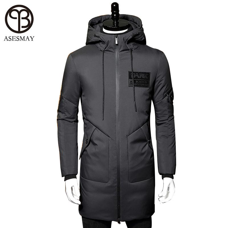 bff6a10b0 Asesmay 2017 Winter Down Jacket Men Coat Hooded Long White Duck Down ...