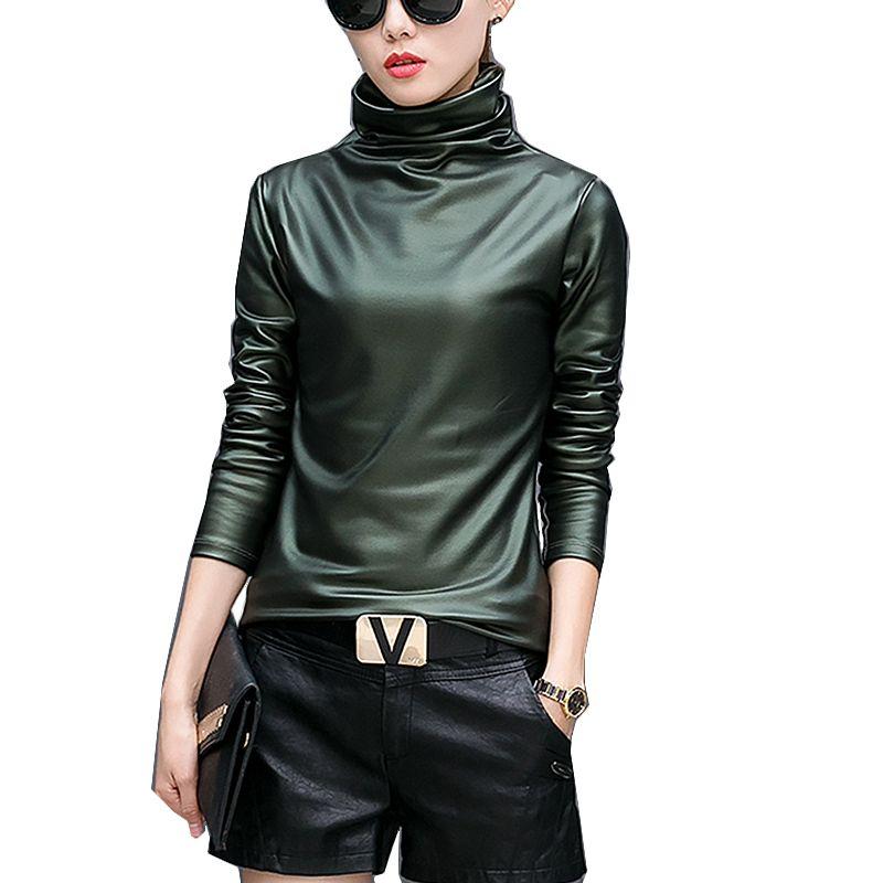 ec4a263c1f5 Harajuku Women T Shirt Sexy Long Sleeve Turtleneck Velvet T Shirt Female  Tops Plus Size 4XL Punk Style Stretch PU Leather Tshirt T Shirt Sites  Quirky T ...