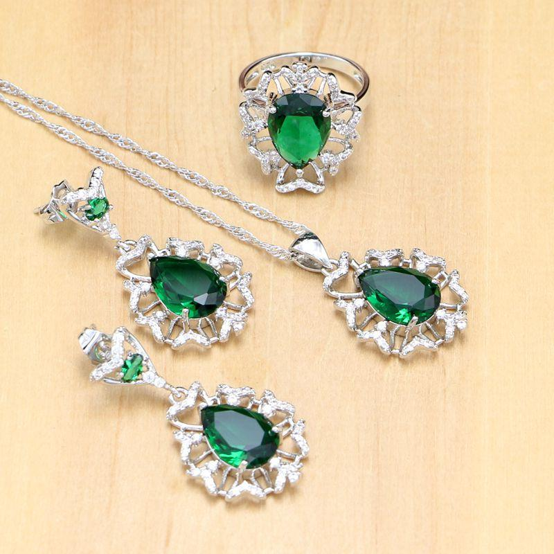 Hyperbole 925 silver Jewelry Sets Green Zircon White Stone For Women Party Accessories Earrings/Pendant/Necklace/Ring
