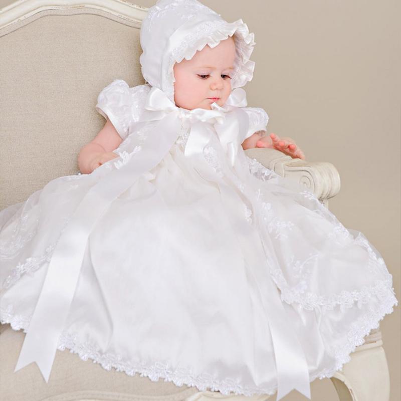 40847bcdc Compre Con El Primer Vestido De Comunión Del Sombrero De La Vendimia Mangas  Cortas Apliques Bautizo De La Niña Vestidos De Bautizo Blanco Beige Vestido  De ...