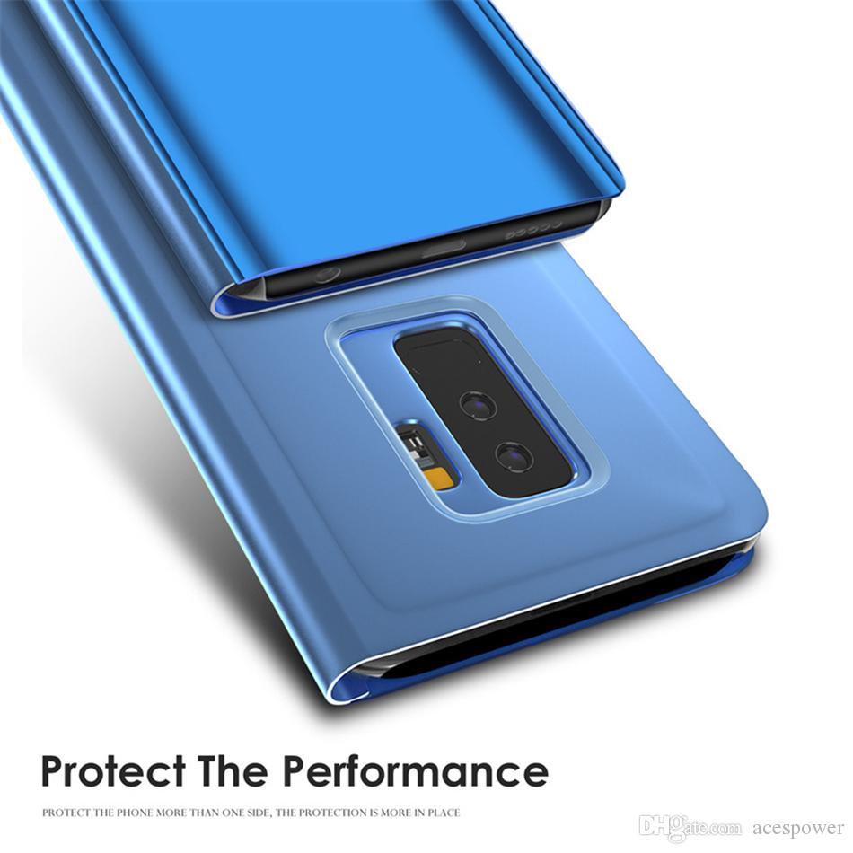 Caso Flip para Samsung S20 Nota 20 Ultra Telefone Suporte Electroplate Clear Smart espelho tampa para iphone 12 mini pro max