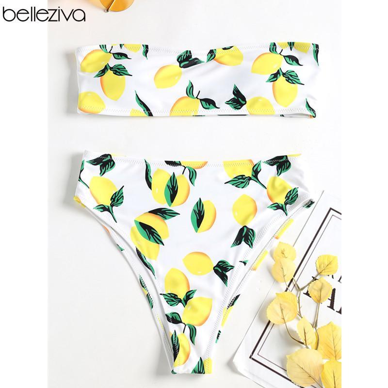 5fb73019ebbe4 2019 Wholesale Sexy Lemon Print High Waist Push Up Strapless Women Swimsuit  High Leg Bandeau Bikini Swimwear Bathing Suit Size S M L From Mingmusic002