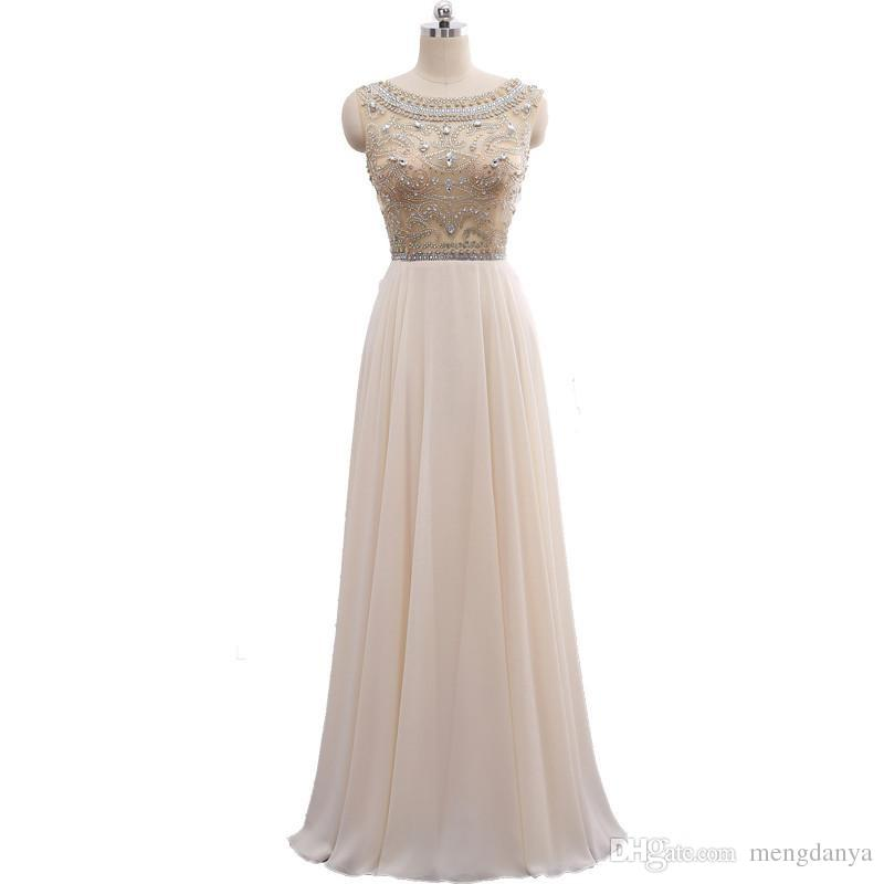 2018 In Stock Real Photo Formal Gown See Through Back Beading Handwork Chiffon Prom Long Evening Dresses Champagne And White
