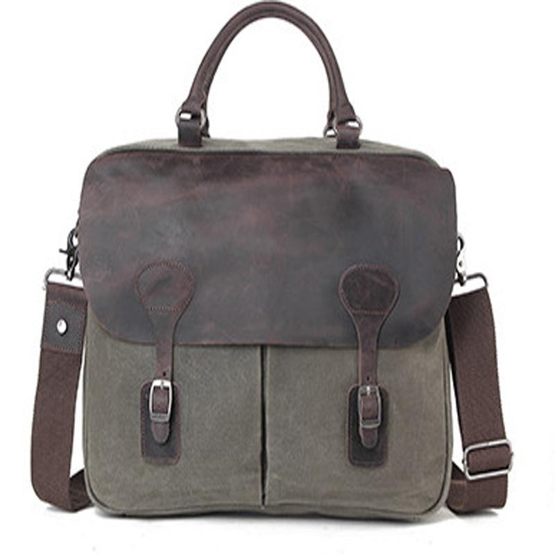 105dcac9365 2018 new wax canvas canvas bag with suede leather men and women shoulder  slung briefcase shockproof business computer bag