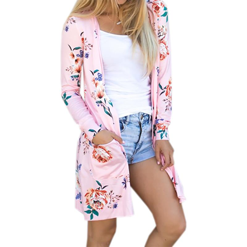 O-Neck Summer Coat Woman Jacket Casual Floral Cardigans Jackets Long Sleeve Loose Coat Tops Tee Tunic Mujer Female Outerwear