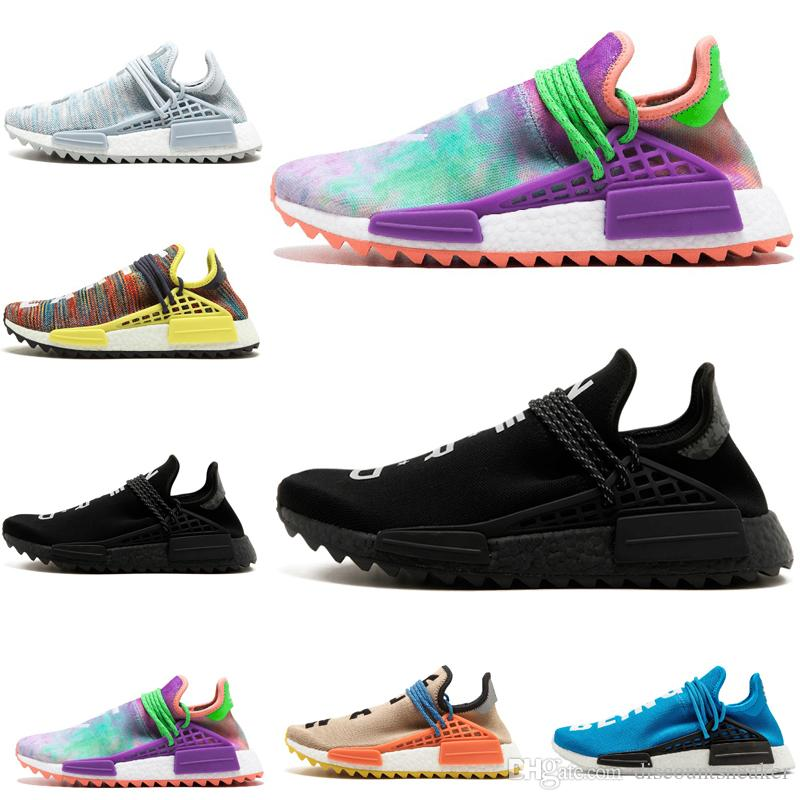1d430382b New Human Race Running Shoes Pharrell Williams Hu Trail Cream Core Black  Nerd Equality Holi Trainers Mens Women Sports Shoes Size US 5.5 12 Sport  Shoes Mens ...