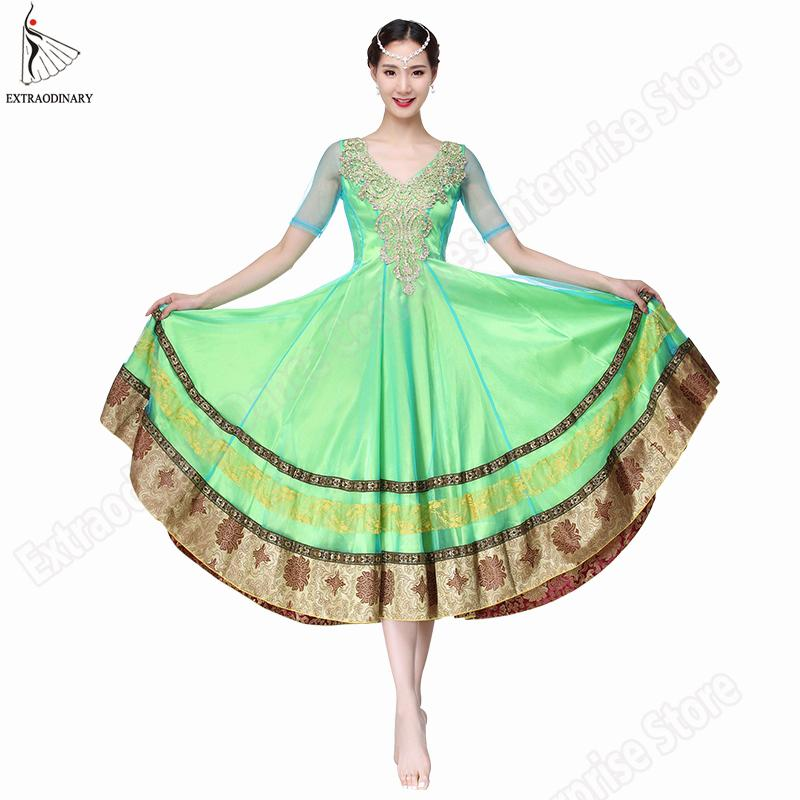 d9d14f80601 Acheter Nouvelles Femmes Costumes De Danse Du Ventre Bollywood Indien  Bellydance Robe Jupes Performance Dos Nu Brodé À La Main Manches Jupe  Longue De ...