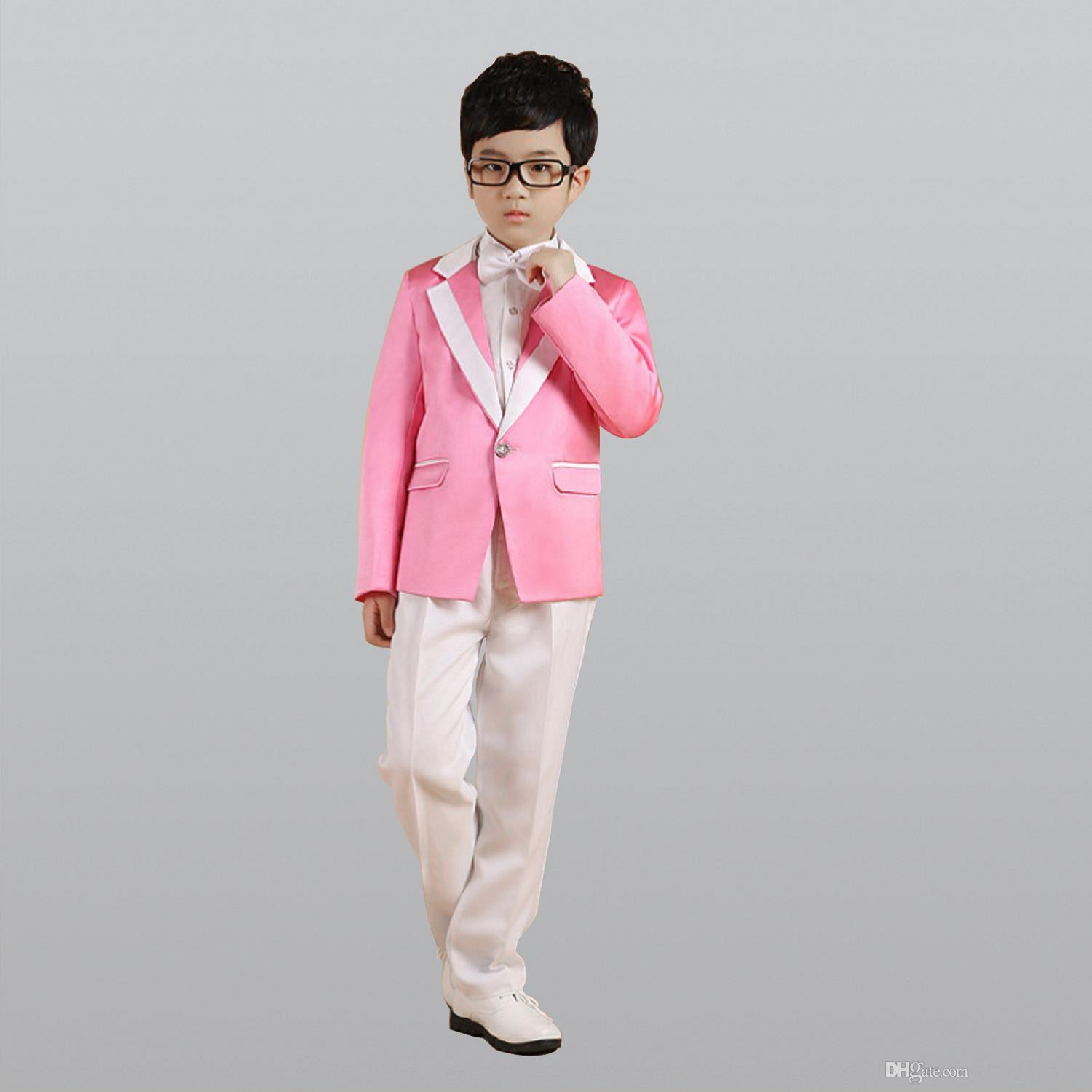 Pink Jackets + Pants + Bow Tie + Shirt+Coat Boy Costumes Flower Slim ...