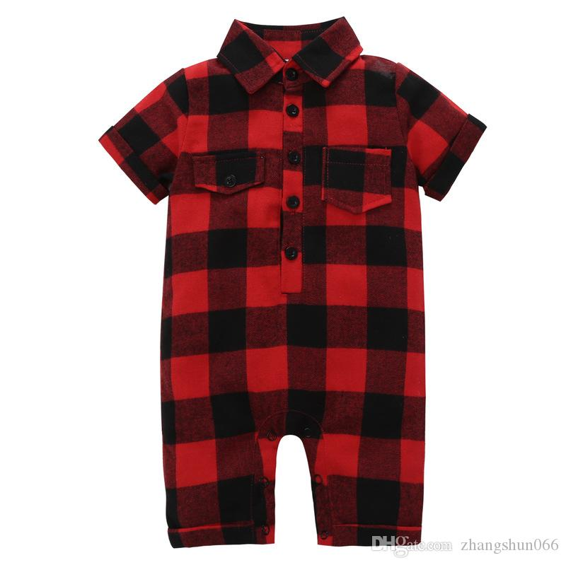 2018 Baby Rompers Boys Girls Red Plaid Toddler Romper Clothing INS Summer Short Sleeve Infant Onesies Boutique Jumpsuits Clothes