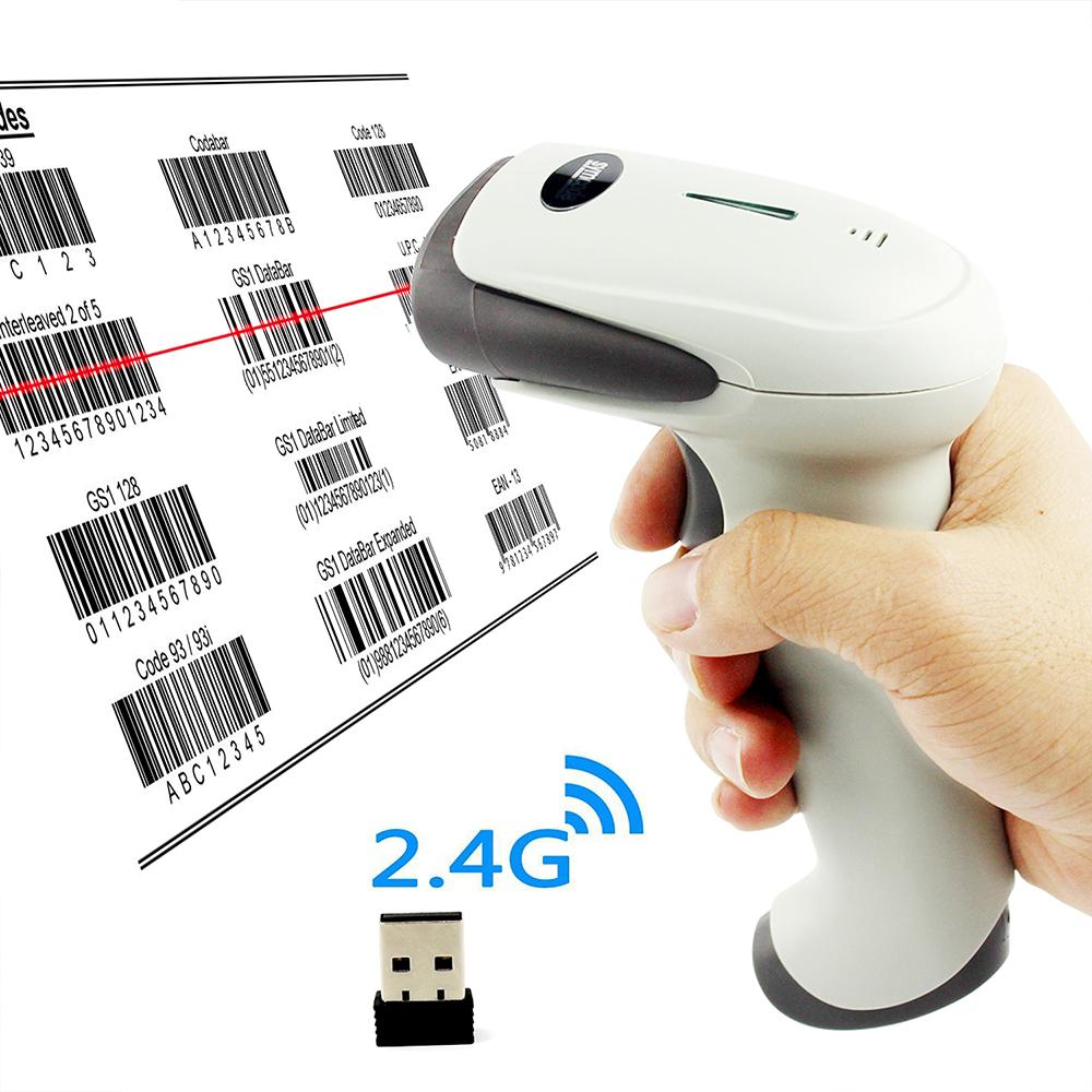 Symcode 1D 2 4G Wireless USB Barcode Scanner with 100Meters(330ft) Wireless  Transfer Distance