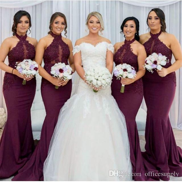 Burgundy Mermaid Bridesmaid Dresses 2018 Elegant Arabic Halter Neck Lace Appliques Wedding Guest Party Dresses Vestido de Feista