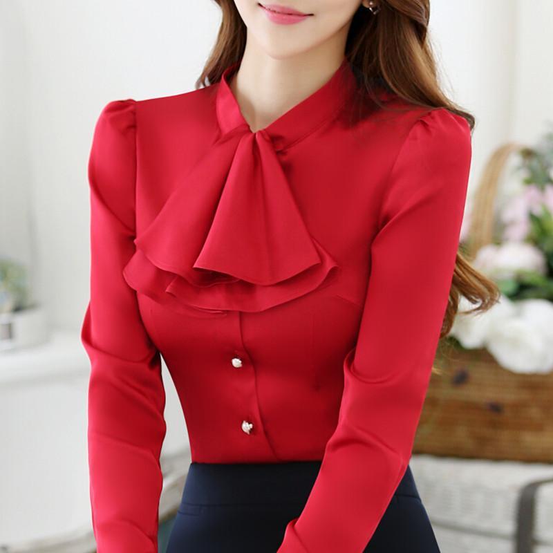 Camicia da donna casual con collo arricciato Camicetta da donna elegante rosa Camicia aderente da donna Top da ufficio OL da donna Nuovo stile Moda Abbigliamento da lavoro