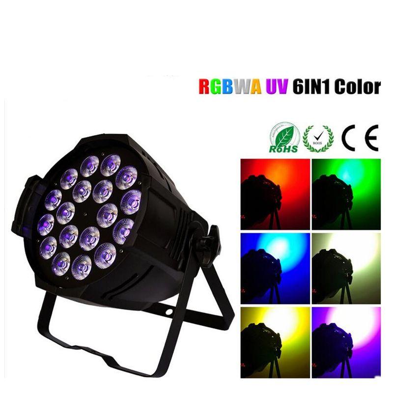 8xlot Cast-aluminum Led Par 18x18w Rgbwa+uv 6in1 Led Par Can 18x18w Rgbw Par Led Spotlight Dj Projector Wash Lighting Stage Ligh Commercial Lighting Stage Lighting Effect