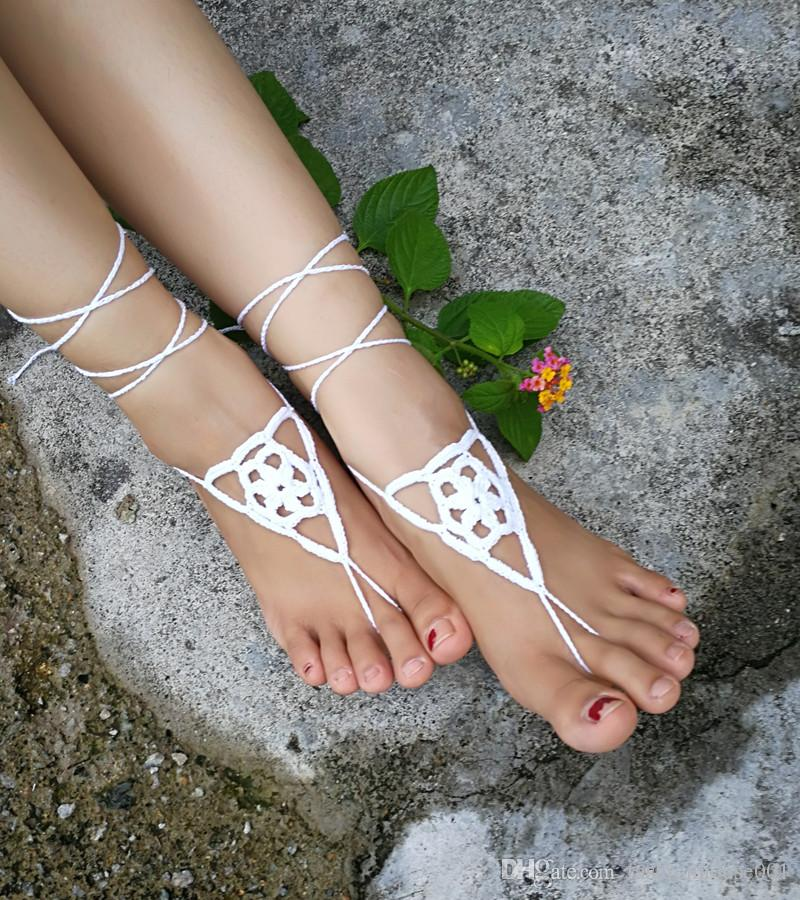 Crochet white barefoot sandals Nude shoes Foot jewelry Beach wear Yoga shoes Bridal anklet bridal beach accessories white lace sandals S204
