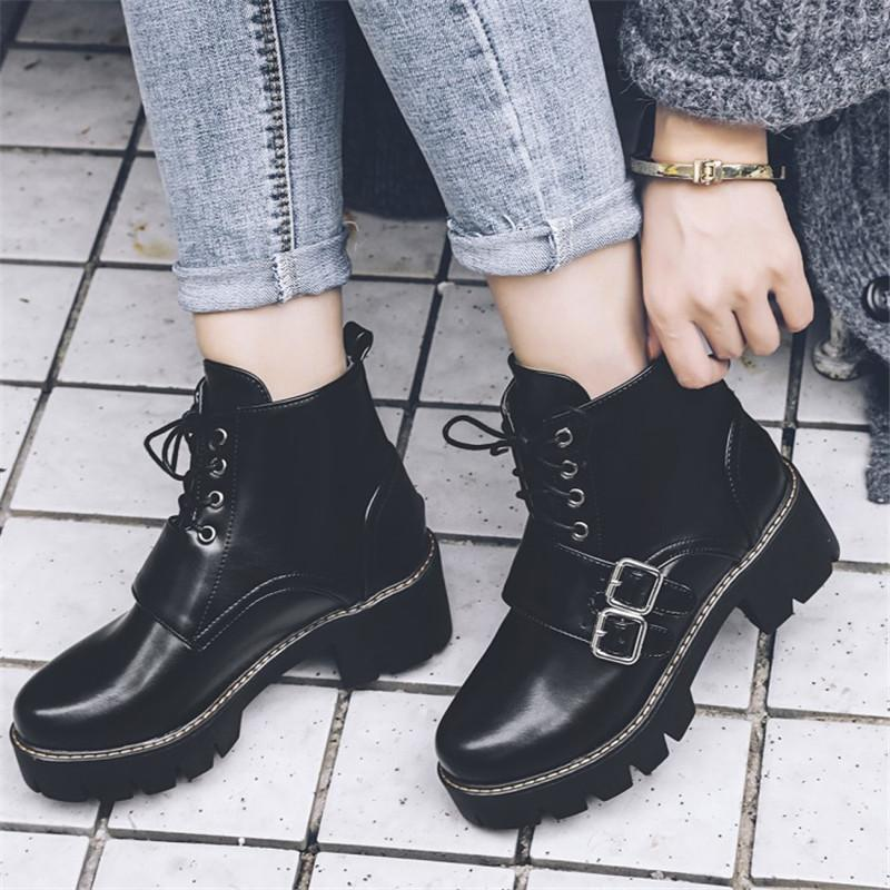 b4a45c214d60 PXELENA Punk Rock Gothic Motorycle Ankle Boots Women Buckle Chunky Block High  Heels Martin Boots Female Shoes Black Green 34 43 Pumps Shoes Shoe Boots  From ...