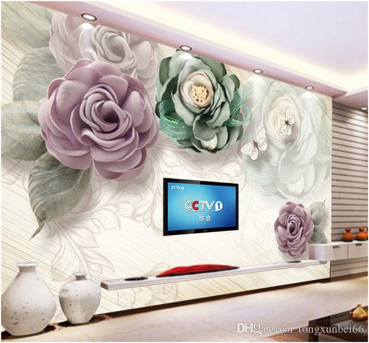 European Style Living Room Wallpaper Hand Painted Retro TV Background Wallpaper Seamless Flower Large Mural Warm Oil Painting