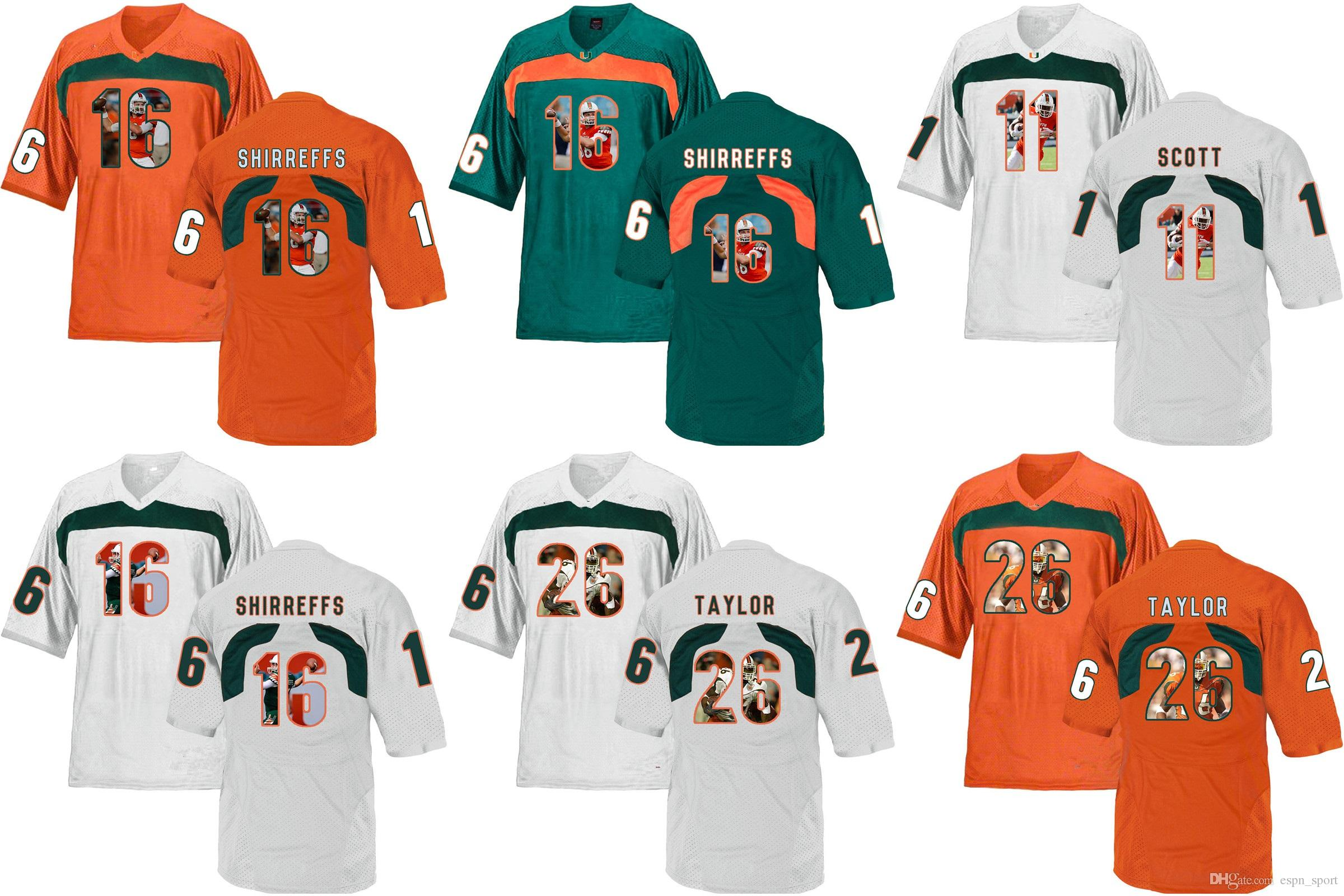 Factory Outlet- NCAA Miami Hurricanes Taylor 26 Shirreffs 16 College ... 7658ba5c6